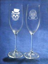 Dia De Muertos Sugar Skull Wedding Glasses Flute Engraved FREE