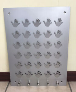 Large Memo Handy Board Key Rack Metal Silver Notes Reminders Wall Mounted