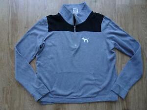 VICTORIAS SECRET PINK ladies grey black sweatshirt jumper MEDIUM UK 12
