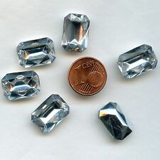 119 *** 6 CABOCHONS ANCIENS CRYSTAL FOND CONIQUE OCTOGONE 16X11,5mm CRYSTAL