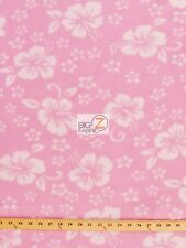 "HAWAIIAN FLOWER PRINT POLAR FLEECE FABRIC - Baby Pink - 60"" WIDTH SOLD BTY - 240"