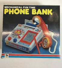 Vintage NIB ARTECH MECHANICAL FUN TIME PHONE BANK BRAND NEW NOS TOMY 80s