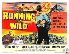 RUNNING WILD LOBBY CARD POSTER HS 1955 MAMIE VAN DOREN WILLIAM CAMPBELL