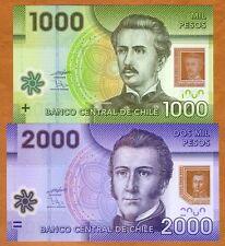 SET Chile 1000;2000 Pesos, 2009-2013 Polymer Picks 161-162 UNC