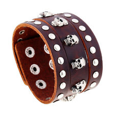 Punk Mens Brown Leather Skull Bracelets Bangle Wristband Biker Cuff Wrap Jewelry