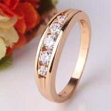 Wedding ANTIQUE white sapphire stylish 18k gold filled band ring Sz5/J-Sz9/R