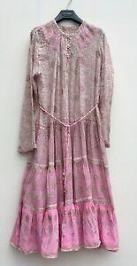 Vintage,Indian gauze cotton Pink Block print dress. Hippy 70's,Woodstock, RARE