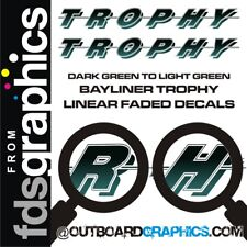 Pair of 6ft long Bayliner Trophy sticker/decals - light to dark green fade