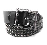 Cool Spike Studded Mens Punk Biker Hip Hop Genuine Leather Belt Waistband Black