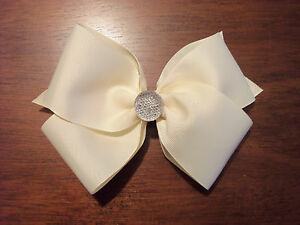 """NEW Custom made 6"""" classic hairbow with jewel/stone grosgrain barrette"""