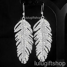 NEW VINTAGE STYLE TIBETAN SILVER FEATHER DANGLE CHANDELIER CRYSTAL EARRINGS
