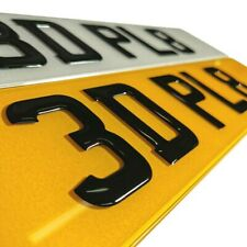 3D GEL NUMBER PLATES Domed Gel Digits - PAIR of Front & Rear Show Plates