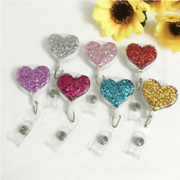 Glitter Love Heart Retractable Pull Badge Reel ID Lanyard Name Tag Card Holder