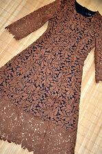 HALLHUBER wunderschönes Häkelkleid Kleid Gr. 34 UK 6 neu Häkelspitze Cognac