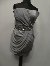 Jane Norman Brass Gold Satin Brown Mini Wriggle Dress Evening Prom Size 6 32 XXS