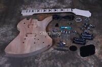 Starshine DIY Electric Guitar Mahogany Body Maple Neck Black Inlay Grover Tuner