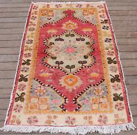 Turkish Rug 35''x58'' Vintage Light Muted Color Rug Oriental Carpet 90x150cm 2x4