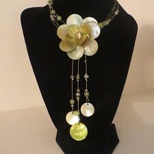 Green Flower Choker Collar Wire Necklace w/Beads
