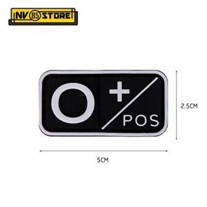 Patch in PVC Gruppo Sanguigno 0+ POS 5 x 2,5 cm Soccorso Militare Velcrata Nero
