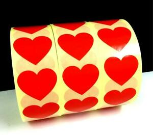Heart Stickers - Plain Seals Labels Craft Wedding Invite Favours Gifts 3 Colours