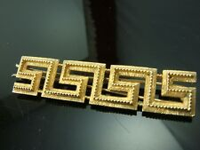 "VINTAGE GOLD TONE TURN KEY DESIGN 2 7/8"" HAIR BARRETTE"