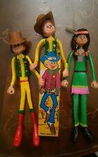 3 giocattoli vintage cowboy & indian Bendable