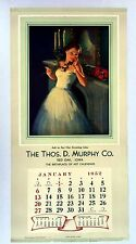 1952 Pin Up Girl Calendar by Hufford Brunette in Formal Dress Holding Rose