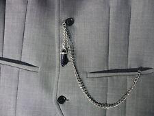 Single albert silver plated black obsidian Crystal stone pocket watch chain fob