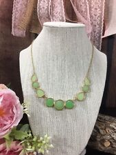 r Signed Liz Claiborne Shades Of Mint Green Gold Tone Bib Necklace