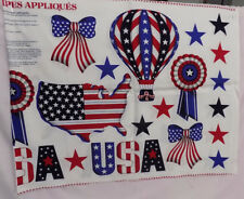 STARS AND STRIPES APPLIQUE FABRIC USA CUT AND SEW 100% COTTON  SEWING CRAFTS