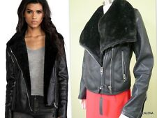 NWT BLANK NYC Faux Fur/ Leather asymmetrical zipper Motorcycle Jacket MEDIUM