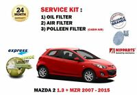 FOR MAZDA 2 1.3 + MZR 1348cc 2007 >NEW OIL AIR POLLEN FILTER SET SERVICE KIT
