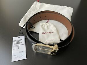 NWT Salvatore Ferragamo Men's Black Brown Reversible Leather Belt 32