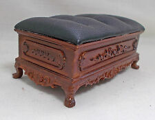 Dolls house Miniature high quality Adalicia Ottoman with leatherette seat