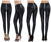 Womens Long Pants Leather Zipper Crotch Ankle Length Stretchy Leggings Trousers
