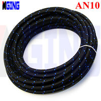 AN10 10AN Stainless Steel Nylon Braided Oil Fuel Gas Line Hose 10FT Foot Blue