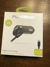 New OEM PureGear 12W/2.4A Black Micro USB Corded Car Charger