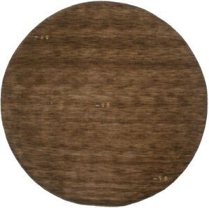 Solid Brown Hand-Loomed Contemporary 8X8 Oriental Modern Round Rug Decor Carpet