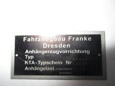 Typenschild AHK AZV s39 Anhängekupplung Wartburg Trabant Barkas Anhänger Franke