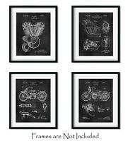"4 Harley Davidson Patent Art Prints 8""x10"" Wall Decor - Great Gifts for Bikers"