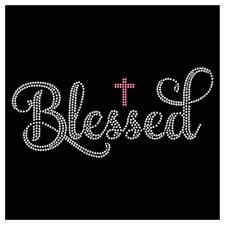 Blessed Christian Cross Religious Jesus Rhinestone Hotfix Iron On Transfer