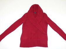 Talbots Women's Heavy Shawl Neck Sweater Medium Red 100% Cotton Pullover M LS