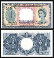 Malaya & British Borneo   $1 Dollar QE II > 1953 Prefix: A / 66 aUNC