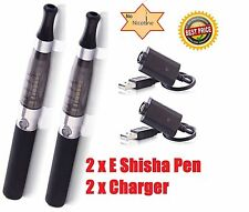 2 x ELECTRONIC 650mAh SHISHA RECHARGEABLE BLACK VAPOR E PEN 2 x USB CHARGERS UK