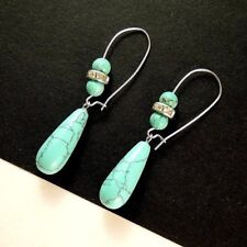 1 Pair of Turquoise Tear Drop Gemstone Dangle Earrings with Beads #1254