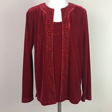 Quacker Factory XS Top Red Velour Embellished