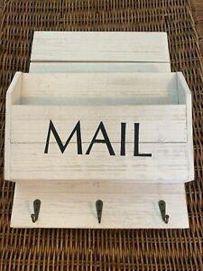 Wall Mail Organizer Letter Paper Holder Key Rack Hooks White Wash Wood