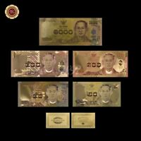 WR Colored Gold Thailand Banknote 20-50-100-500-1000 Baht Series Completed Set