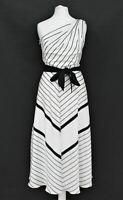 HOBBS Ladies Paulina Ivory Black One Shoulder Flared Midi Dress UK12 BNWT RRP159
