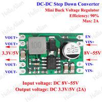2A DC-DC Buck Step Down Converter 9V-55V 12V 24V 36V 48V To 3.3V 5V Mini Module
